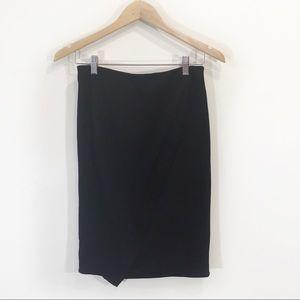 Zara Pencil Skirt Drape Wrap Large Black Small